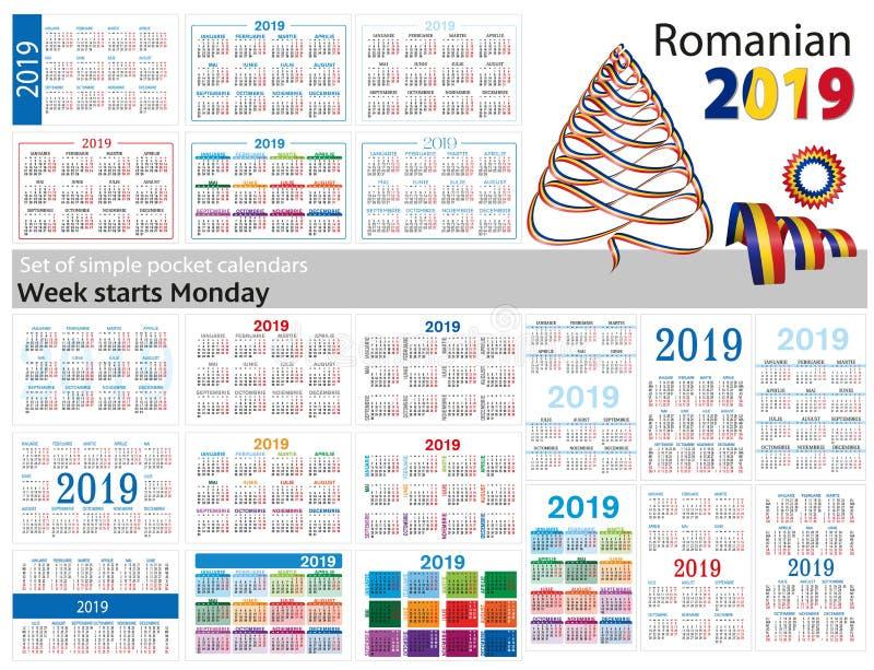 Grupo de calendários simples do bolso para 2019 dois mil dezenove A semana começa segunda-feira Tradução do Romanian - ilustração do vetor