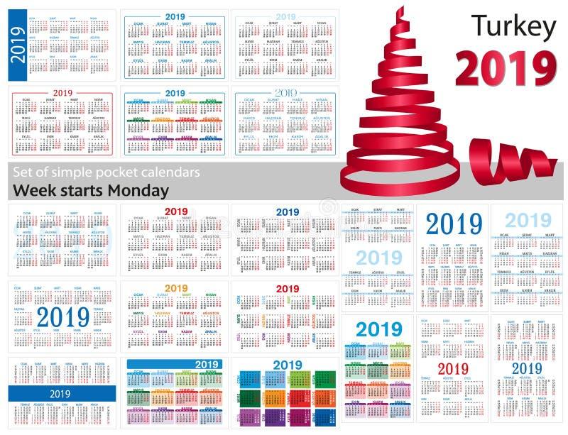 Grupo de calendários simples do bolso para 2019 dois mil dezenove A semana começa segunda-feira Tradução de Turquia - ilustração stock