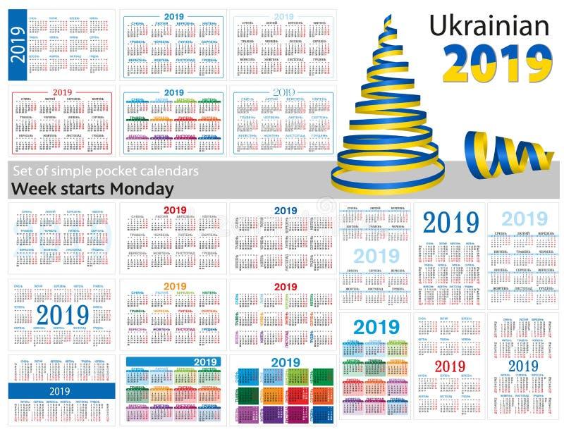 Grupo de calendários simples do bolso para 2019 dois mil dezenove A semana começa segunda-feira Tradução do ucraniano - ilustração royalty free