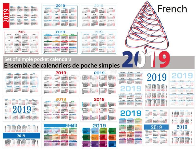 Grupo de calendários simples 2019 em dois mil dezenove francês A semana começa segunda-feira ilustração do vetor