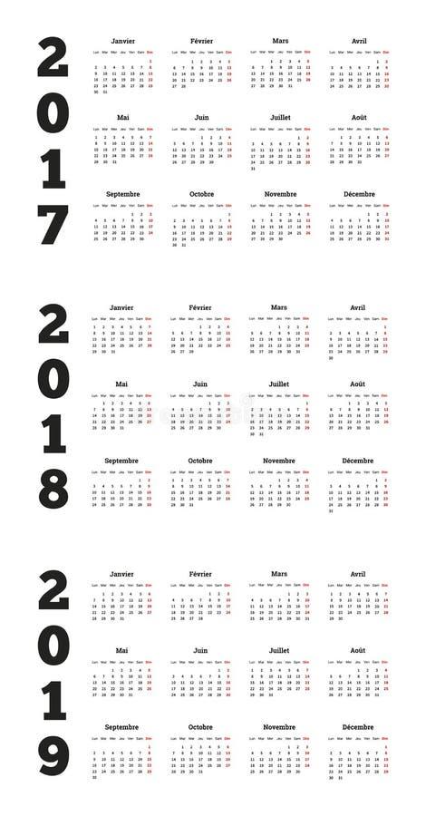 Grupo de calendários simples em francês 2017, 2018, 2019 anos ilustração do vetor