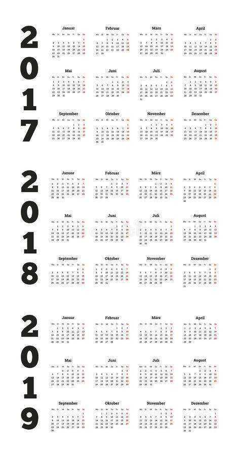 Grupo de calendários simples no alemão 2017, 2018, 2019 anos ilustração stock