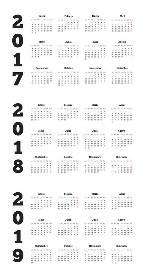 Grupo de calendários simples no espanhol 2017, 2018, 2019 ilustração do vetor