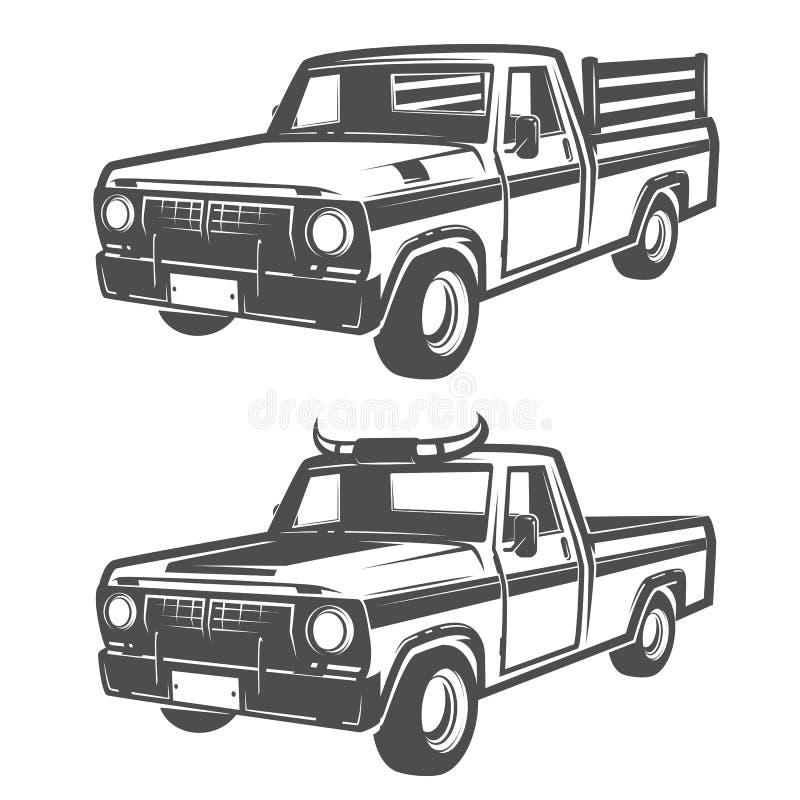 Grupo de caminhão da exploração agrícola para o logotipo, os emblemas e o projeto ilustração royalty free