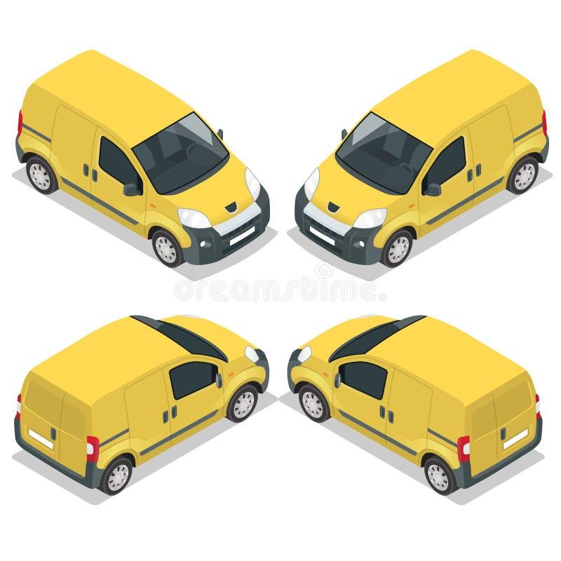 Grupo de caminhão pequeno dos ícones para a carga do transporte Van para o transporte de carga Carro de entrega Vetor 3d liso iso ilustração stock