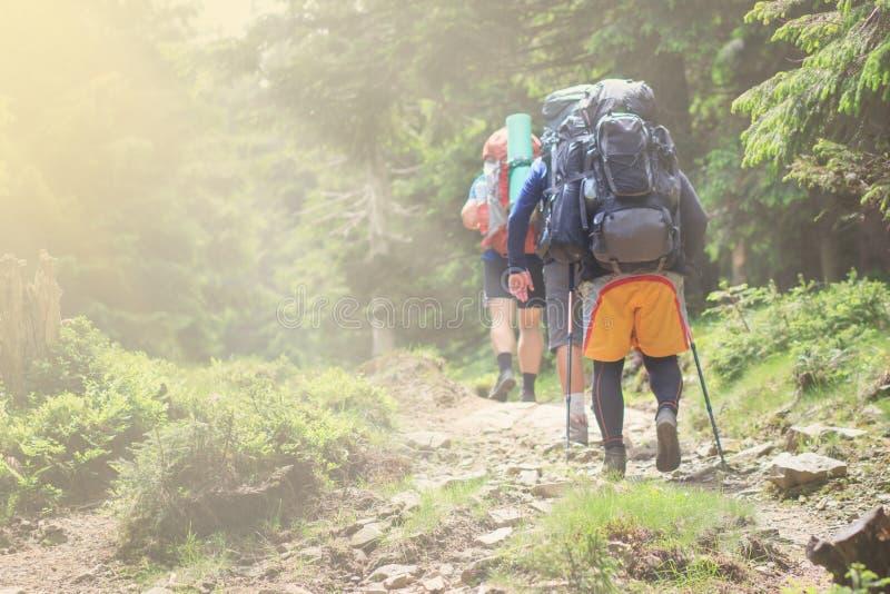 Grupo de caminhantes que andam nas montanhas As bordas da imagem s?o borradas fotos de stock