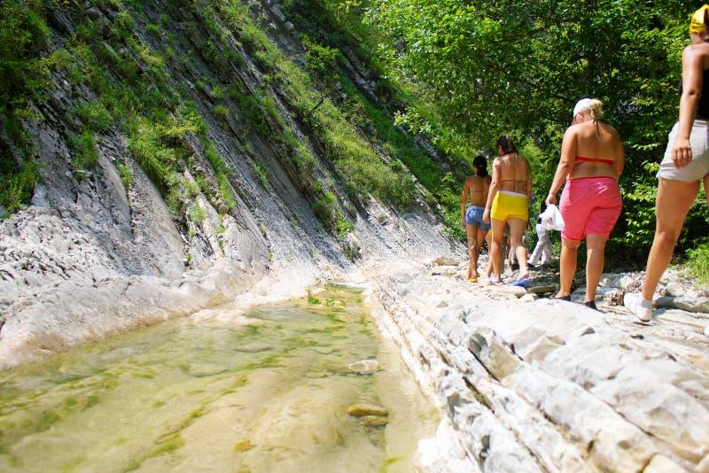 Grupo de caminhantes que andam nas montanhas A imagem das bordas é borrada fotografia de stock royalty free