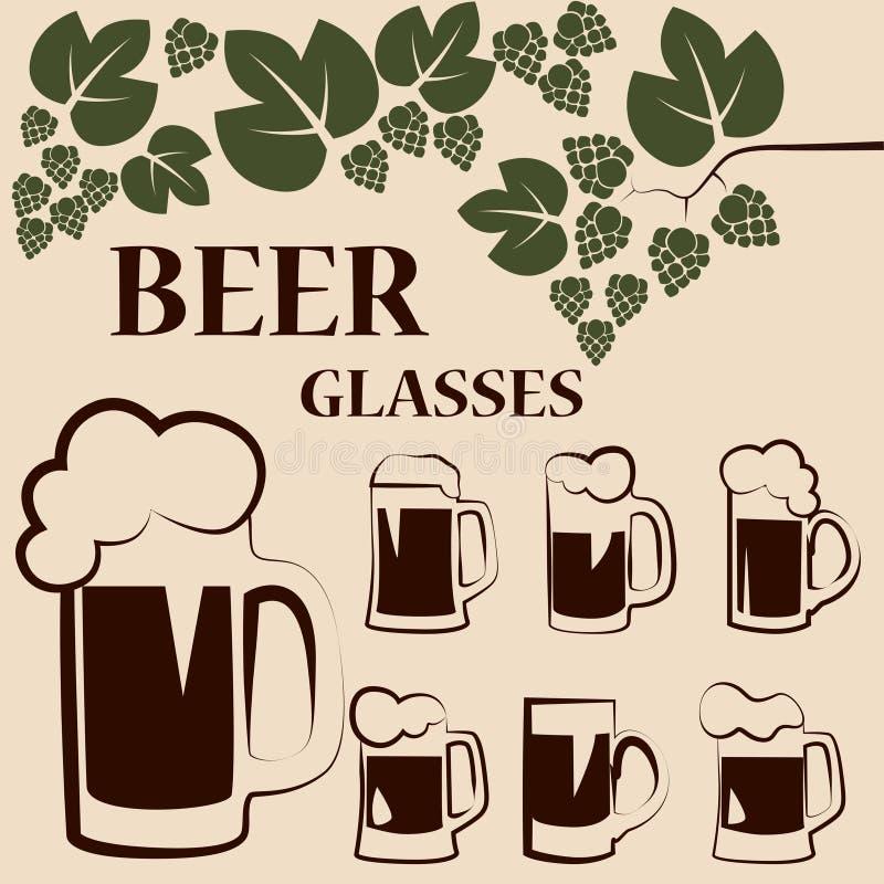 Grupo de canecas de cerveja imagem de stock