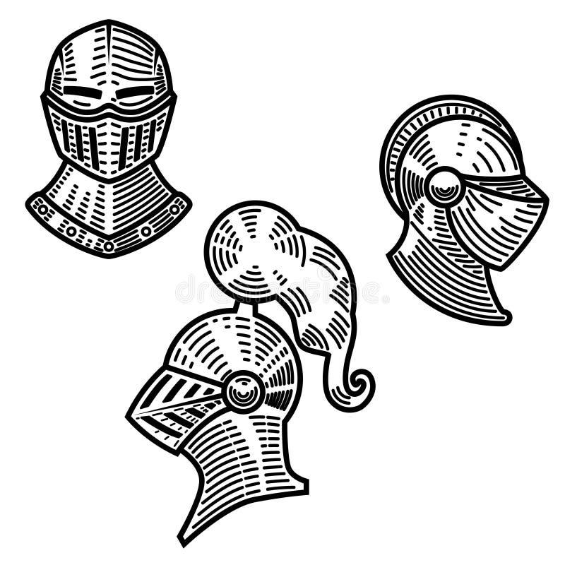 Grupo de capacetes do cavaleiro no estilo da gravura Projete o elemento para o logotipo, etiqueta, emblema, sinal ilustração royalty free