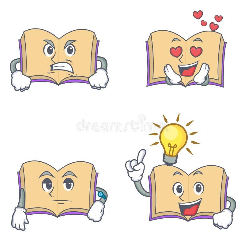 Grupo de caráter aberto do livro com ideia de espera do amor irritado ilustração royalty free