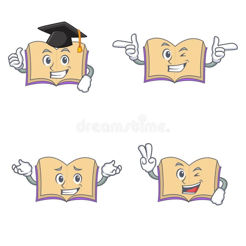 Grupo de caráter aberto do livro com o dedo da piscadela dois da graduação ilustração do vetor