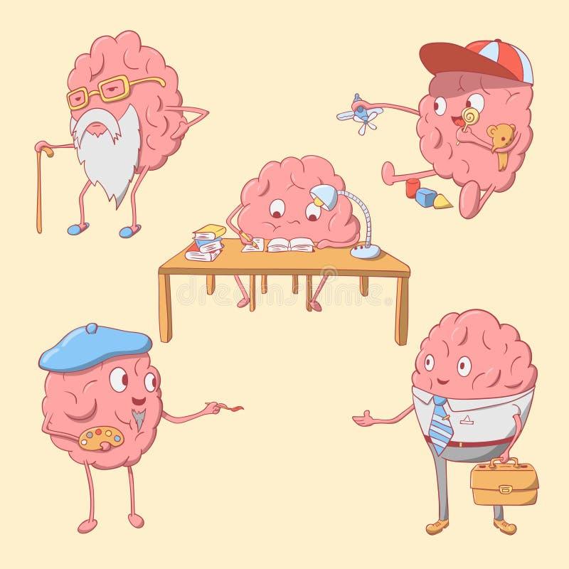 Grupo de caráter bonito do cérebro dos desenhos animados fotografia de stock