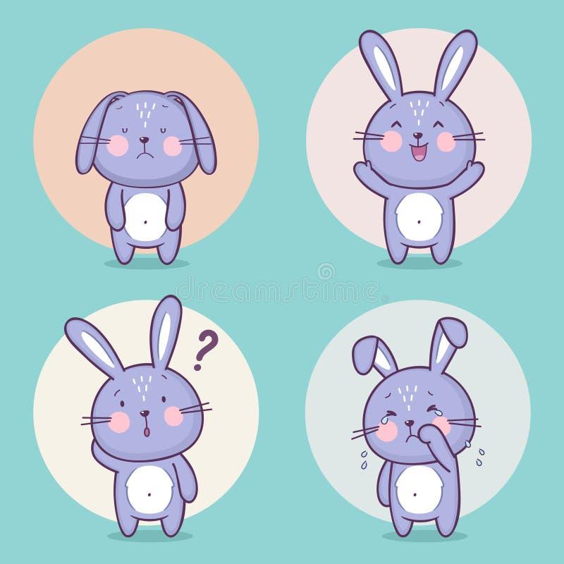 Grupo de caráter bonito do coelho de coelho ilustração royalty free