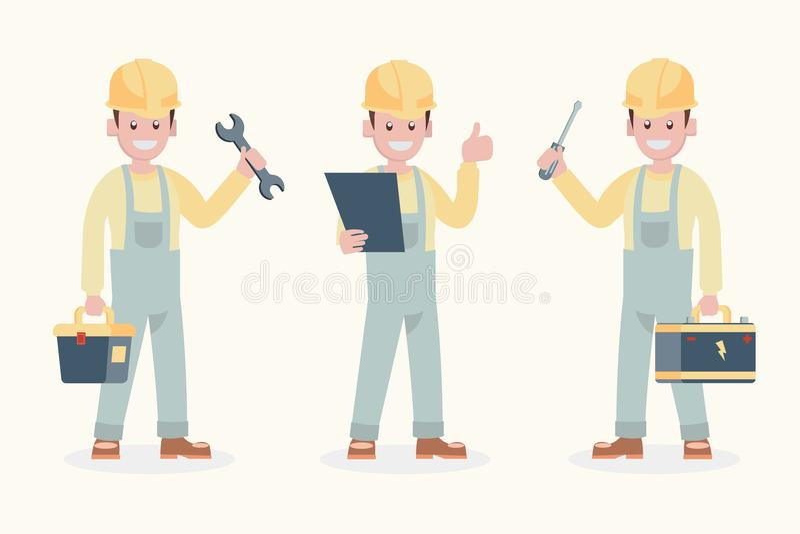 Grupo de caráter da ilustração, trabalho do reparador do mecânico do sorriso ilustração stock