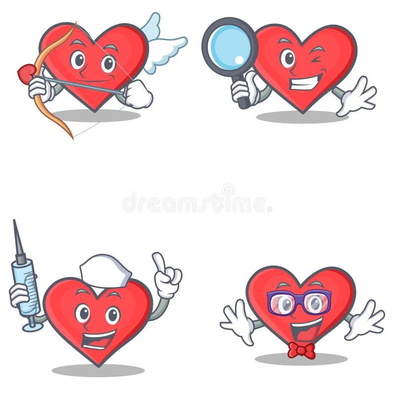 Grupo de caráter do coração com o totó da enfermeira do detetive do cupido ilustração stock