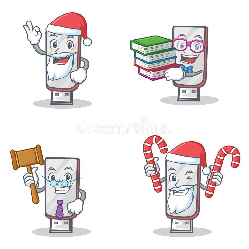 Grupo de caráter do flashdisk com o juiz do livro dos doces de Santa ilustração stock