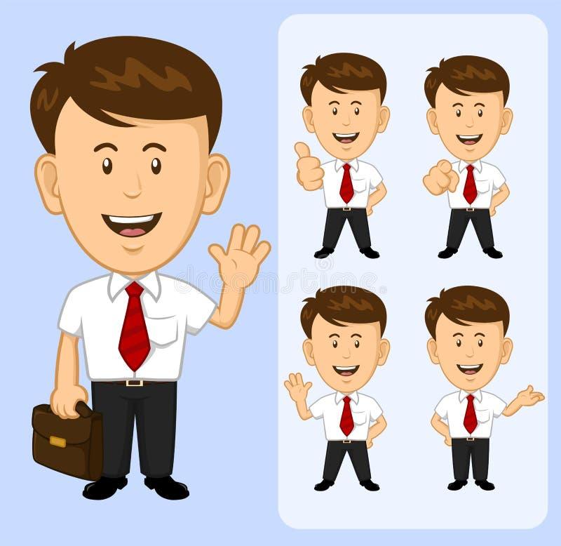 Grupo de caráter do homem de negócio dos desenhos animados em várias poses ilustração royalty free