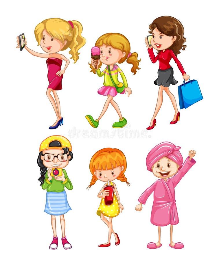 Grupo de caráter fêmea ilustração royalty free