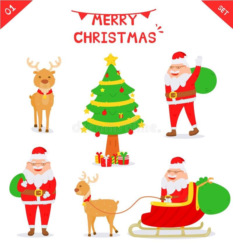 Grupo de caráter de Santa Claus ilustração do vetor