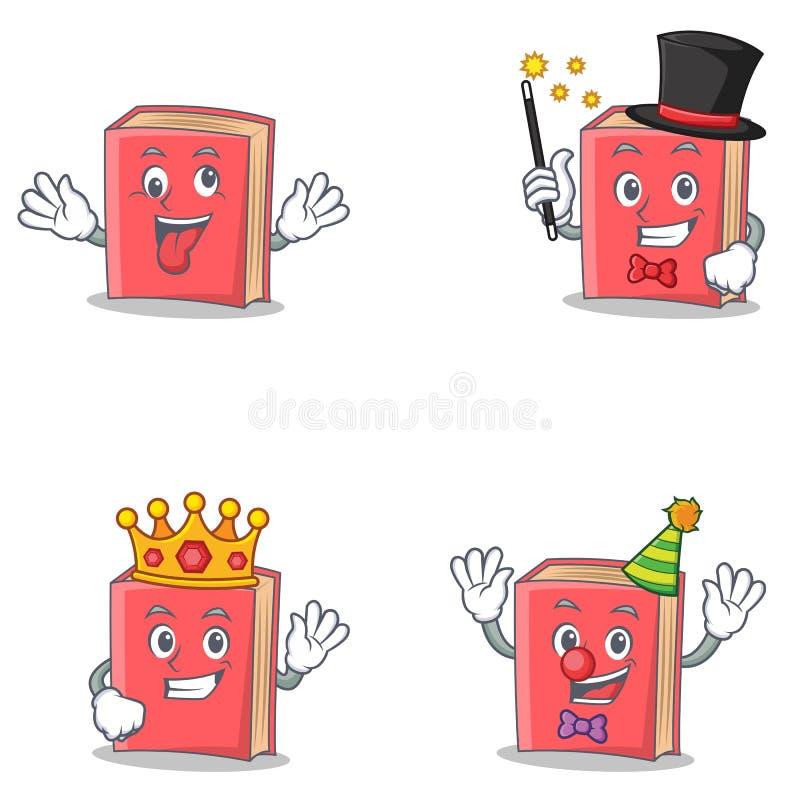 Grupo de caráter vermelho do livro com o palhaço louco do rei do mágico ilustração royalty free