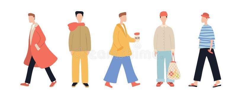 Grupo de caráteres à moda do homem dos desenhos animados que vestem a roupa ocasional isolada no fundo branco ilustração royalty free