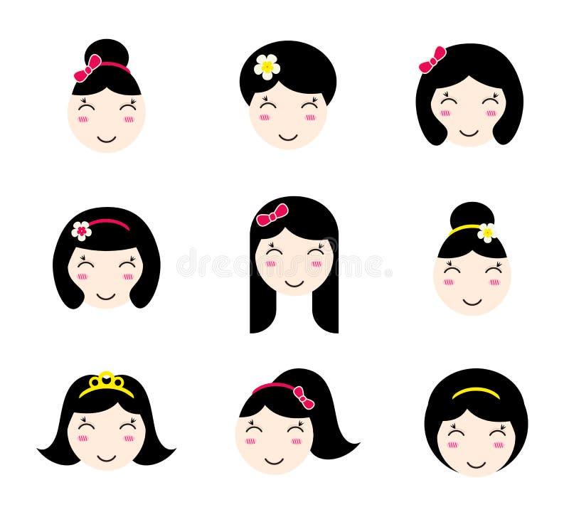 Grupo de caráteres bonitos da menina do anime com penteados diferentes ilustração royalty free