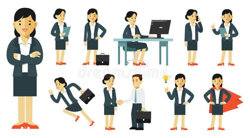 Grupo de caráteres da mulher de negócios em poses diferentes no estilo liso isolados no fundo branco ilustração stock