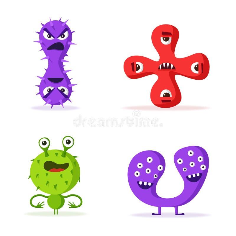 Grupo de caráteres das bactérias Ilustração do vetor dos desenhos animados microbiology ilustração royalty free