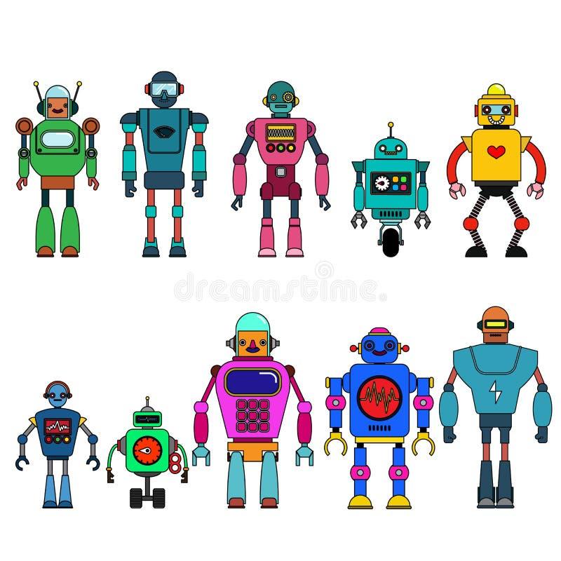 Grupo de caráteres diferentes dos robôs dos desenhos animados, linha estilo dos ícones do cyborg do astronauta isolados no fundo  ilustração do vetor