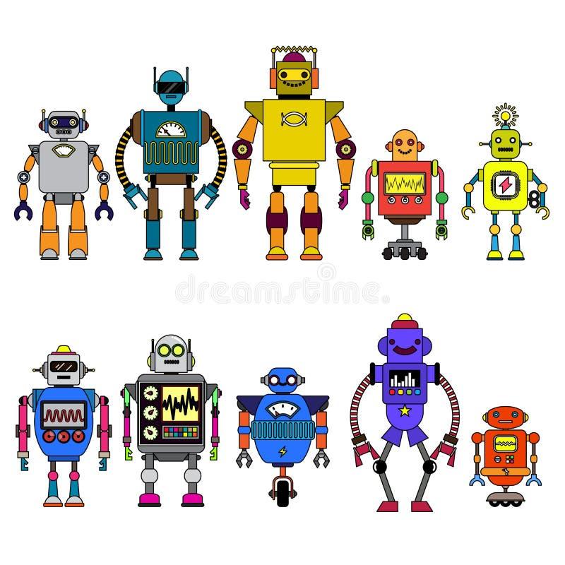 Grupo de caráteres diferentes dos robôs dos desenhos animados, linha estilo dos ícones do cyborg do astronauta isolados no fundo  ilustração royalty free