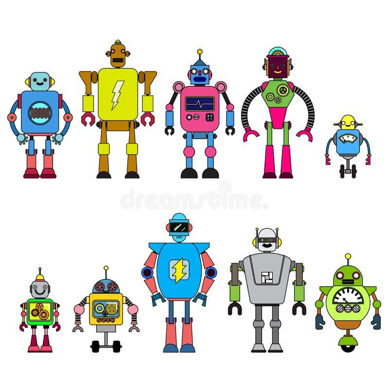 Grupo de caráteres diferentes dos robôs dos desenhos animados, linha estilo dos ícones do cyborg do astronauta isolados no fundo  ilustração stock