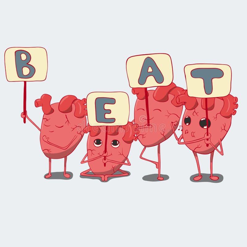 Grupo de caráteres do coração dos desenhos animados com placas, coleção dos corações ilustração stock