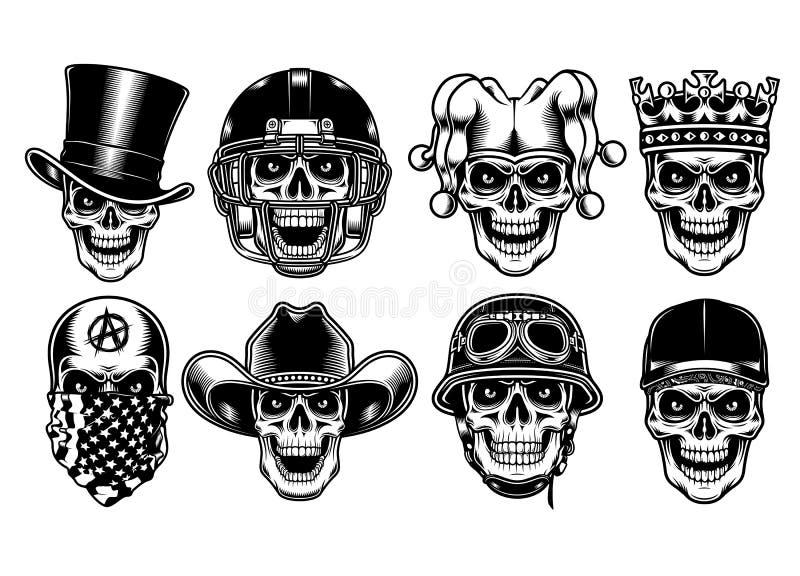 Grupo de caráteres do crânio isolados no fundo branco ilustração do vetor