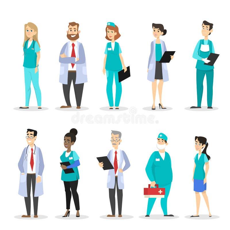 Grupo de caráteres do doutor Equipa médica profissional ilustração do vetor