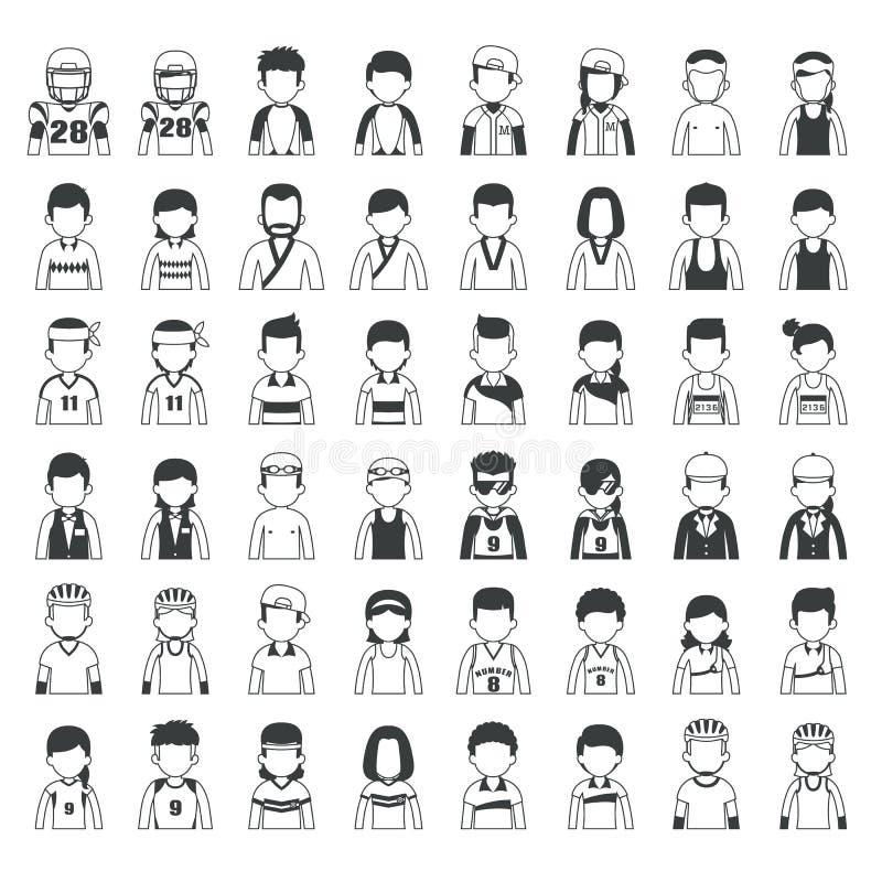 Grupo de caráteres do esporte ilustração do vetor