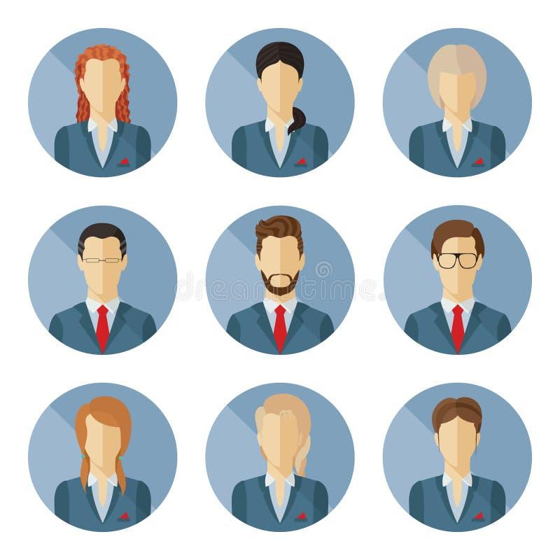 Grupo de caráteres do negócio do vetor no projeto liso imagens de stock royalty free