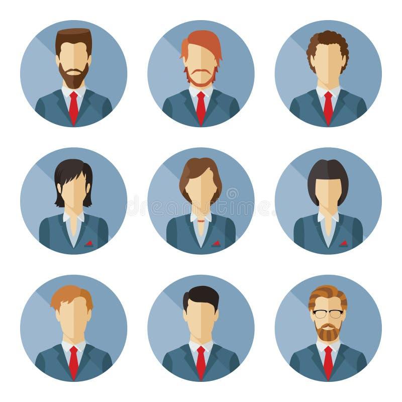 Grupo de caráteres do negócio do vetor no projeto liso ilustração royalty free