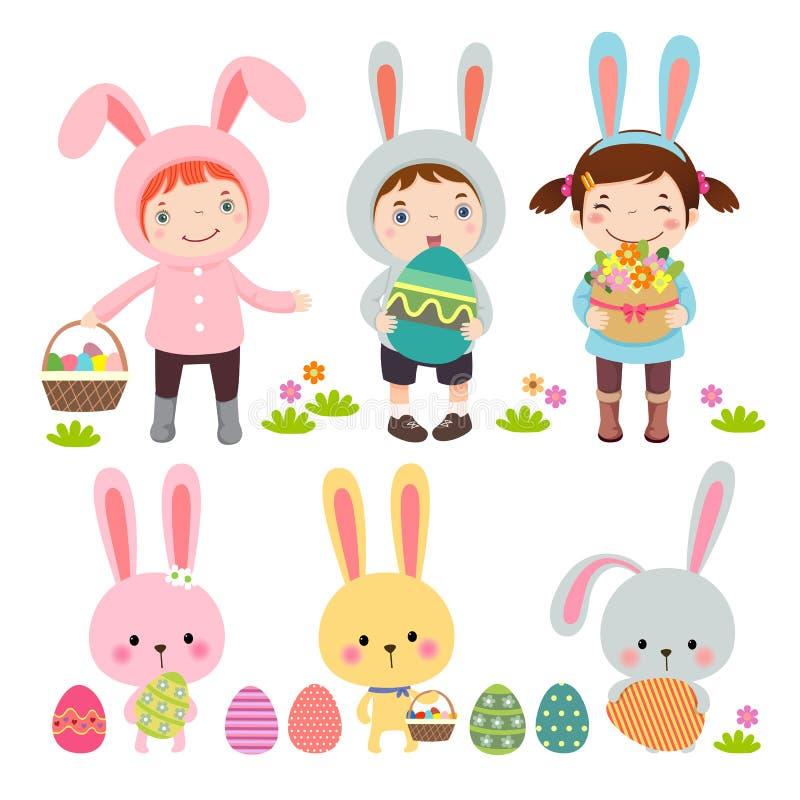 Grupo de caráteres e de ícones no tema da Páscoa ilustração royalty free