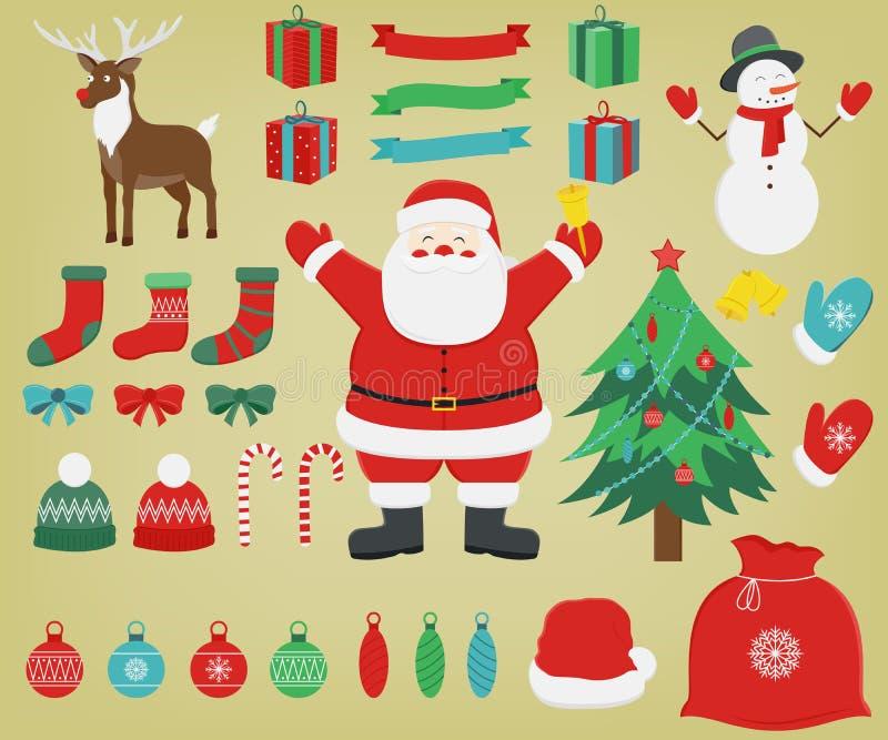 Grupo de caráteres e de decorações coloridos do Natal Vetor ilustração royalty free