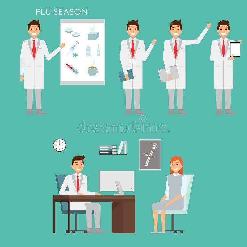 Grupo de caráteres e de pessoal hospitalar dos doutores Conceito da equipa médica no projeto liso Conceito de Healfthcare Homem d ilustração stock