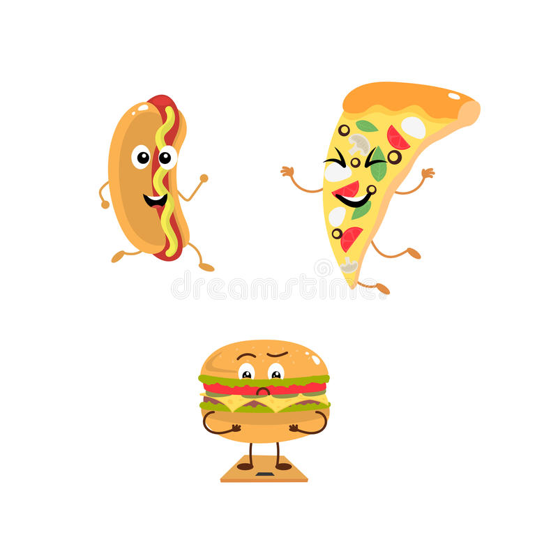 Grupo de caráteres engraçados do fast food ilustração royalty free