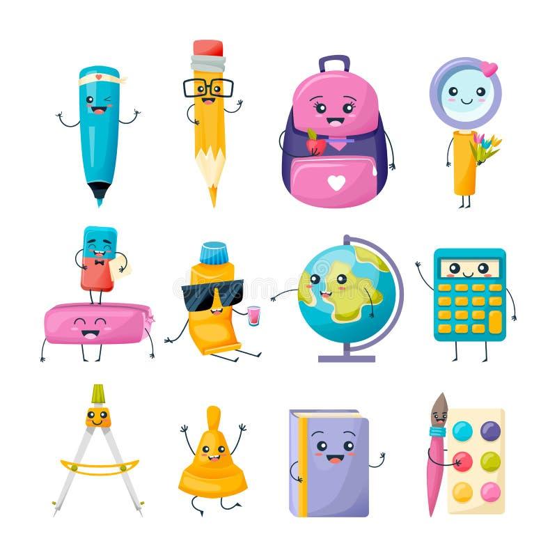 Grupo de caráteres engraçados dos materiais de escritório da escola Artigos de papelaria da escrita da escola ilustração royalty free