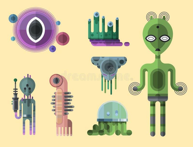 Grupo de caráteres estrangeiros bonitos dos monstro engraçados diferentes dos desenhos animados e do diabo feliz da ilustração da ilustração royalty free