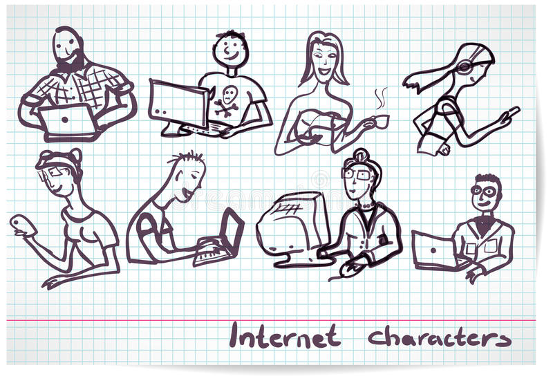 Grupo de caráteres no tema da tecnologia e do dispositivo do Internet ilustração do vetor