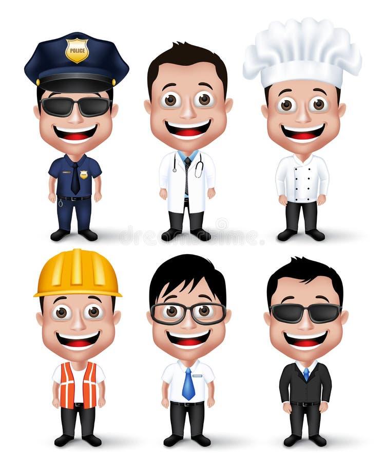Grupo de caráteres profissionais realísticos do homem da ocupação 3D ilustração royalty free