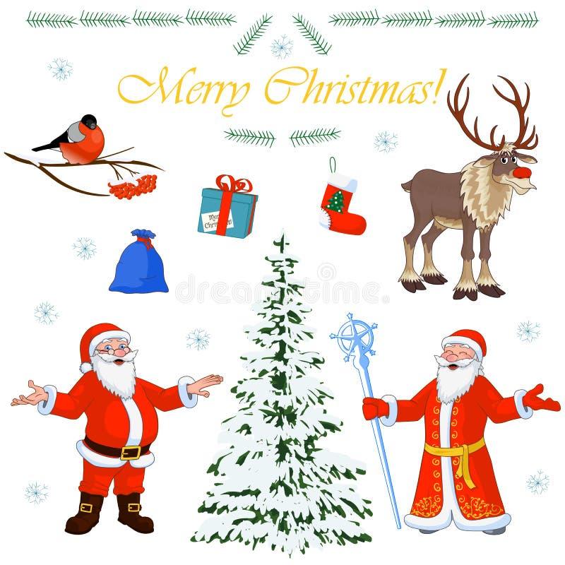 Grupo de caráteres Santa Claus do Natal e seus ajudantes pequenos, árvore do inverno e decorações florais Ilustração do vetor ilustração royalty free