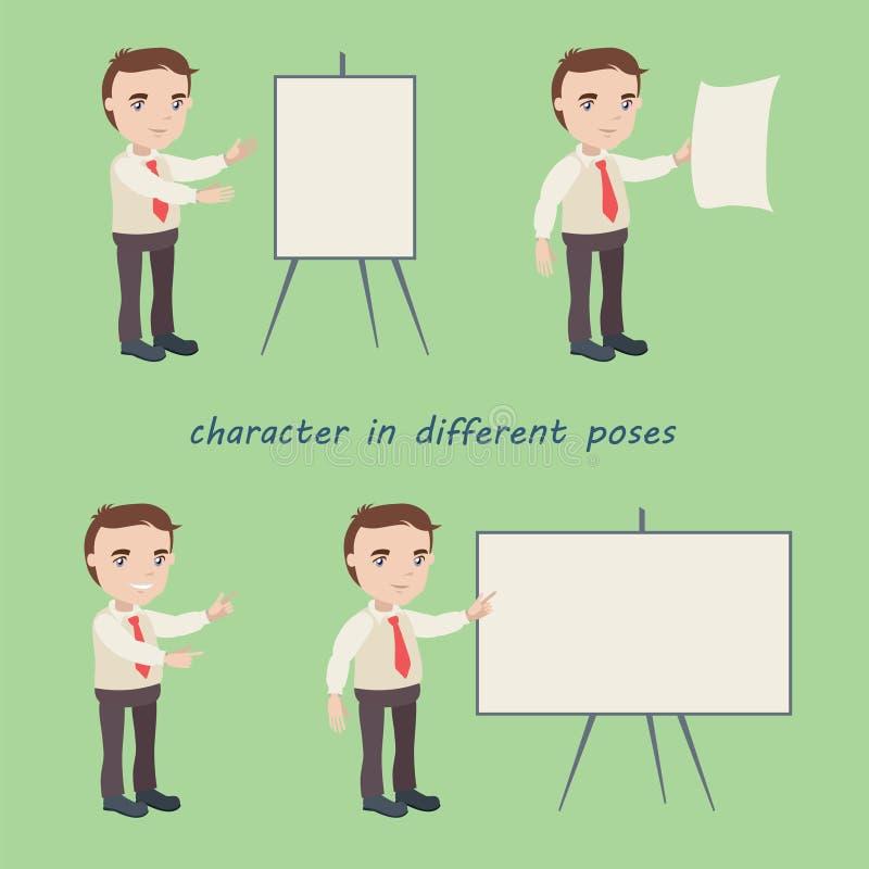 Grupo de caráteres universais simples em poses diferentes ilustração do vetor