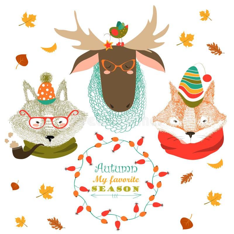 Grupo de caras bonitos dos animais ilustração stock