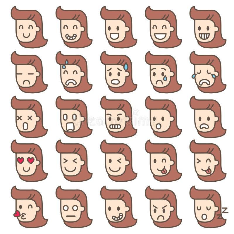 Grupo de caras da emoção caráteres das mulheres ilustração royalty free