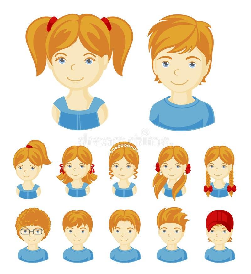 Grupo de caras das crianças ilustração stock